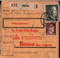 ! 1943 Paketkarte Deutsches Reich Pyritz Nach Borna - Cartas