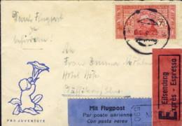 1932- Biglietto Da Visita Per Via Aerea Diretto In Svizzera Affr. 75c. Dante Alighieri Isolato Annullo Lasa Bolzano - 1900-44 Vittorio Emanuele III