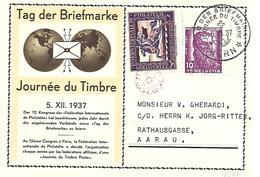 1937, Journée Du Timbre, Chamois, Allemand / Français, Obl. Bern 5.XII.37 - Pro Juventute
