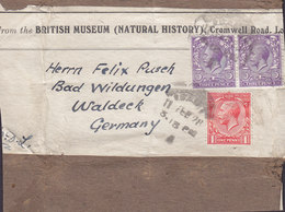 Great Britain BRITISH MUSEUM (Natural History) LONDON 1928 Cutout To BAD WILDUNGEN Germany 3x GV. Stamps - 1902-1951 (Kings)