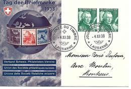 1938, Journée Du Timbre, SM Allemand, Tag Der Briefmarke, Obl. Lausanne 4.XII.38 - Pro Juventute