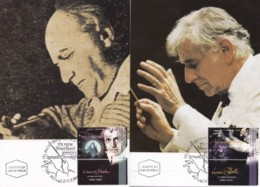 ISRAEL, 1995, Maxi-Card(s), Composers - Bloch - Bernstein, SG1272-1273, F5486 - Tarjetas – Máxima