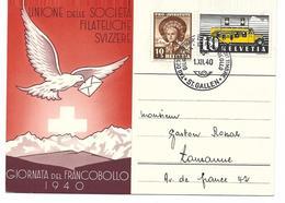 1940, Journée Du Timbre,  Italien, Giornata Del Francobollo, Obl. St-Gallen 1.XII.40 - Pro Juventute