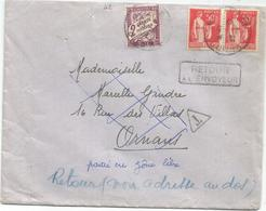 TAXE 2FR VIOLET ORNANS DOUBS 1942 LETTRE AFFR N°283X2 + MENTION PARTI EN ZONE LIBRE - Postmark Collection (Covers)