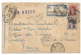 LETTRE AVION EGYPTE CAIRO 1940 POUR DINARD ILLE ET VILAINE FRANCE CENSURE JA 132 - Guerra Del 1939-45