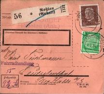 ! 1934  Paketkarte Deutsches Reich Roßlau In Anhalt Nach Teutschenthal - Allemagne