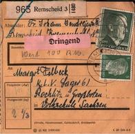 ! 1942  Paketkarte Deutsches Reich Remscheid Nach Rochlitz An KLV Lager - Germany