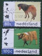 Koe + Pony Horse Cow Natuur En Milieu NVPH 1711-1712 (Mi 1608-1609); 1997 Gestempeld / Used NEDERLAND / NIEDERLANDE - 1980-... (Beatrix)