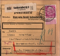 ! 1934 Paketkarte Deutsches Reich Sachsenberg Im Vogtland Nach Hartmannsdorf Bei Chemnitz, Sachsen, Hindenburg Bogenrand - Covers & Documents