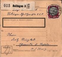 ! 1934 Paketkarte Deutsches Reich Solingen Nach Schwenda über Rossla - Briefe U. Dokumente