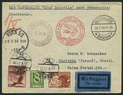 ZULEITUNGSPOST 247 BRIEF, Österreich: 1934, 1. Südamerikafahrt, Drucksachenbrief, Pracht - Zeppeline