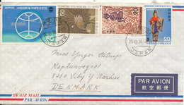 Japan Air Mail Cover Sent To Denmark Takapazuka 26-7-1976 Topic Stamps - Airmail