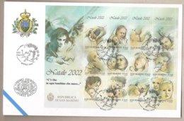 San Marino - Busta FDC Foglietto Ed Annullo Speciale:  Natale - Legame Madre-figlio - 2002 - FDC