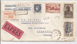 1938. Réco-Valeur-Expres Bodeaux Vers Nederland Utrecht Tarif De 1.8.37 - 1921-1960: Modern Period