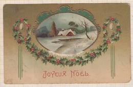 9AL2859 CARTE POSTALE JOYEUX NOEL Maison Neige Dans Un Medaillon 2 SCANS - Christmas