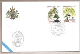 San Marino - Busta FDC Con Serie Completa Ed Annullo Speciale:20° Congresso Dell'EBA - Bonsai  - 2004 - FDC