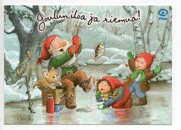 Postal Stationery - PLAN - FINLAND - Postage Paid - GNOMES - CAT - FISH - ICE FISHING - Artist MICHAEL PHILIP - Postal Stationery