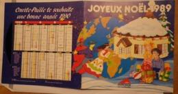 Grill Courte-paille Joyeux Noël 1989 Calendrier 1990 Avec 2 Disques Souples - Grill Accor Courte Paille - Calendars