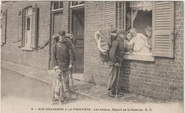 Militaire Militaria :   Soldat , Douannier à La  Frontière , Départd E La  Caserne  , Chien ( Destinée à Tonnerre ) Nord - Personaggi