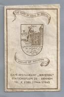 Suikerzakje.- ARNHEM CAFÉ RESTAURANT BRISTOL. STATIONSPLEIN 25 The Coats Of Arms Of Bristol. Sucre Zucchero Zucker Sugar - Sugars