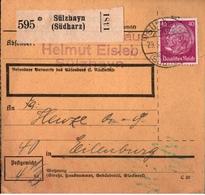 ! 1934 Paketkarte Deutsches Reich, Sülzhayn Im Südharz Nach Eilenburg - Storia Postale