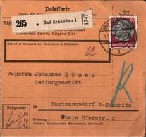 ! 1934 Paketkarte Deutsches Reich, Bad Schandau Nach Hartmannsdorf Bei Chemnitz - Briefe U. Dokumente