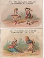 21 DIJON Au Tisserand Belge LOT De 2 Chromos Avec Calendrier 1876 Au Dos - Dijon