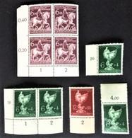1944-1945 Goldschmiedekunst Paar Mi.902**) Ecke LU,902 RL+RO**),903 RU**),  Oldenburg Viererblock Mi.907 Ecke LU**) - Unused Stamps