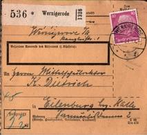! 1934 Paketkarte Deutsches Reich, Wernigerode Nach Eilenburg - Storia Postale