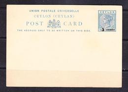 SC 19-96 POST CARD. BLANK. 5 CENTS OVERPRINT. - Ceylon (...-1947)