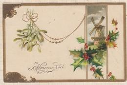 9AL2854 CARTE POSTALE JOYEUX NOEL Moulin Houx 2 SCANS - Christmas
