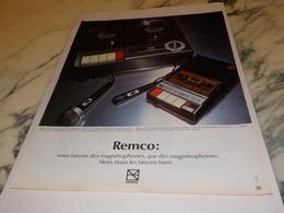 ANCIENNE PUBLICITE CASSETTE REMCO 1972 - Autres