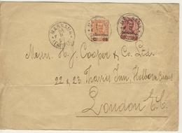 Lettera Da Massaua Per Londra Del 20 Novembre 1907 Con Floreale 10+15 Su 20 Cent. (2 Immagini) - Eritrea
