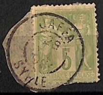 [827996]TB//O/Used-France 1898 - N° 102, 5c Vert-jaune, Oblitération JAFFA - SYRIE? SUR FRAGMENT, Très Peu Courant - 1877-1920: Semi Modern Period