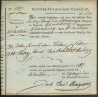 1815 Kaiserslautern Quittung über Gelieferte Naturalien - Documenti Storici