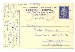 Stamped Stationery - Traveled 1950th - 1945-1992 République Fédérative Populaire De Yougoslavie
