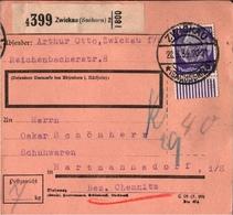 ! 1934 Paketkarte Deutsches Reich, Zwickau Nach Hartmannsdorf B. Chemnitz, Sachsen, Bogenrand, Hindenburg Medaillon - Briefe U. Dokumente