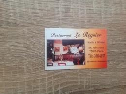 Ancienne Carte De Visite De Restaurant    Le Regnier   Paris 15eme - Cartoncini Da Visita