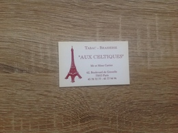 Ancienne Carte De Visite  De Brasserie    Aux  Celtiques   Paris 15eme - Cartoncini Da Visita
