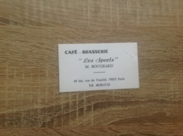 Ancienne Carte De Visite De Cafe Brasserie    Les Sports   Paris 15eme - Cartoncini Da Visita