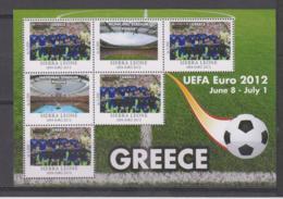 Sierra Leone  UEFA Euro 2012  Michel # 5676 **  Kleinbogen Griechenlamd/Greece - Fußball-Europameisterschaft (UEFA)