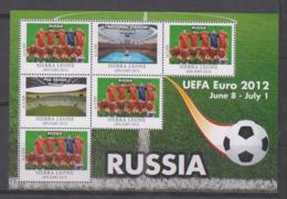 Sierra Leone  UEFA Euro 2012  Michel # 5677 **  Kleinbogen Rusland/Russia - Fußball-Europameisterschaft (UEFA)