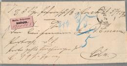 1874 BERLIN Auslagen Brief M. Inhalt N. Köln - Deutschland