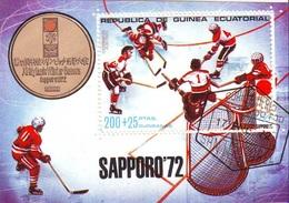Guinea Equatorial 1972 Sc. 7220 Olimpiadi Invernali SAPPORO Hockey Ghiaccio Oro Gold Giappone Sheet CTO - Guinea Equatoriale