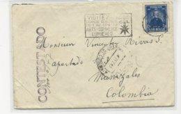 N°748 Liège 1947 S/lettre V.Manizales ( Colombie).griffe CONTESTADO - Belgique