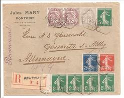1914 Réco Pontoise 2e Ech. Vers Deutschland Gössnitz Avec Vignette Expo 1900 TIMBRÉE - 1877-1920: Semi Modern Period