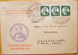 Baden 1949:  3x53 Als MeF Auf  FDC Mit O CONRADIN KREUTZER 27.8.49 JUBILÄUM MESSKIRCH (Michel Junior 2014 = 45 Euro) - Zona Francese