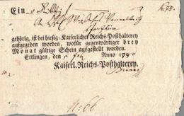 1800 ETTLINGEN Postschein Der Kaiserl.Reichs=Posthalterey - Covers