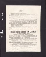 UCCLE DIGGLE Mary-Elisabeth Veuve François VAN LAETHEM 1848-1927 Famille VAN DEN BORRE BOIG Enterrée DROGENBOS - Décès
