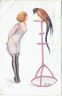 Illustrateur : Xavier Sager.  Femme Avec Cigarette Et Perroquet. - Sager, Xavier